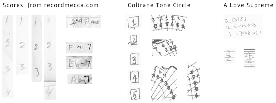 John Coltrane - handwriting - numbers compared.